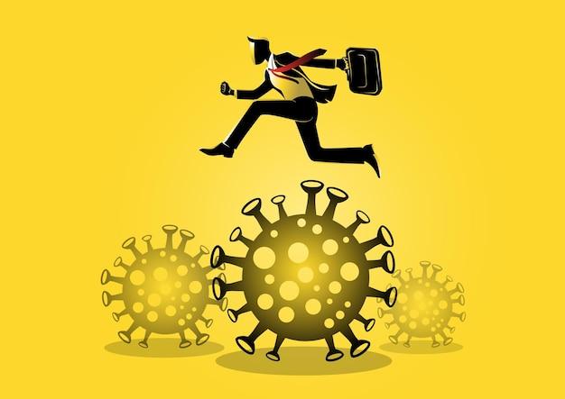 재정 문제, 전염병 중 생존, 바이러스 발생을 전달하기 위해 뛰어 넘는 사업가의 그림