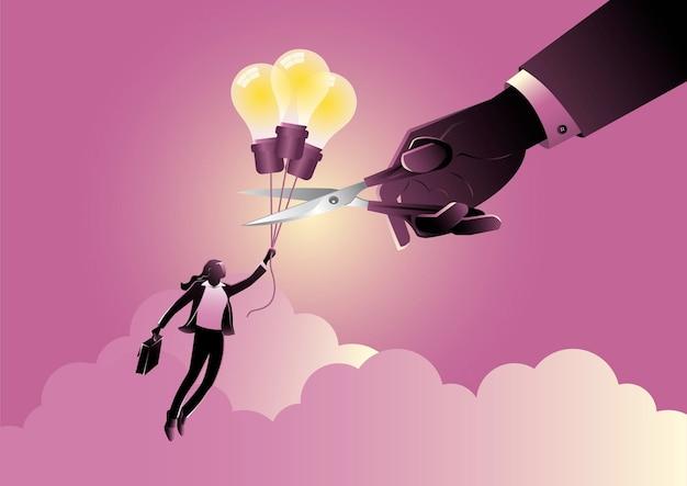 はさみでバルーンロープを手で切るアイデアバルーンで飛んでいる実業家のイラスト。ビジネス介入の概念