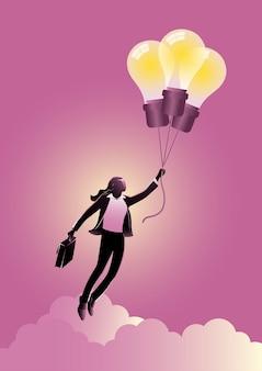 Иллюстрация коммерсантки, летящей на воздушном шаре идеи. векторные иллюстрации