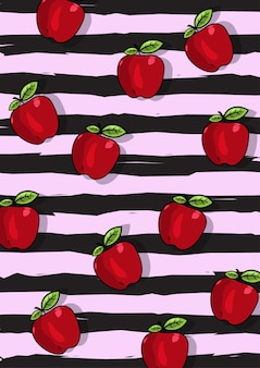 黒のストライプの背景とリンゴの果実パターンのイラスト