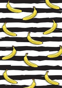 黒のストライプの背景を持つバナナの果実パターンのイラスト