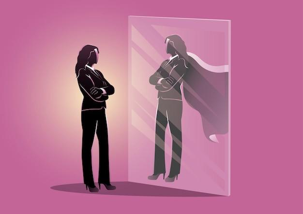 사업가의 그림은 거울을 보고 슈퍼 여왕의 자신감 있는 파워 비즈니스 리더십을 봅니다.