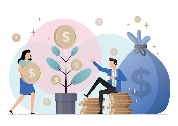 Иллюстрация финансовой свободы, экономии денег и инвестиционной концепции.