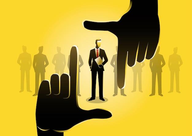 Иллюстрация руки, выбирающей лучшего кандидата. бизнес-концепция