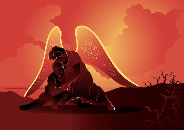 천사와 씨름하는 야곱의 그림. 성경 시리즈