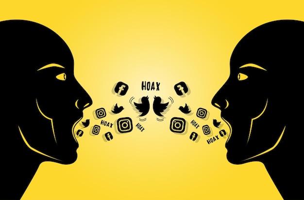 Иллюстрация людей, распространяющих мистификацию или фейковые новости в социальных сетях - векторное изображение