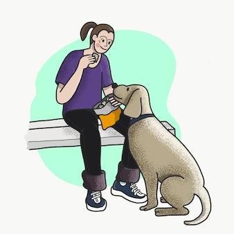 犬に食べ物を与えている男性の画像。若いヒップスター