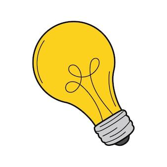 白熱電球、アイデア、洞察のシンボル。いたずら書き。手描きのベクトルイラスト。