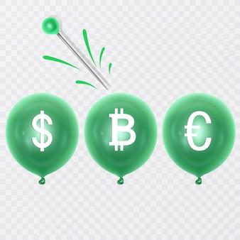 달러, 유로 및 bitcoin 기호와 바늘 풍선 풍선. 경제 문제 또는 금융 위기 및 파산의 개념
