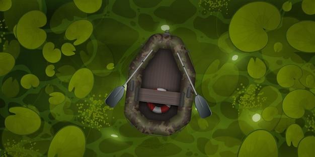 膨脹可能なカモフラージュ ボートは、スイレンの葉、トップ ビューで沼地を浮きます。
