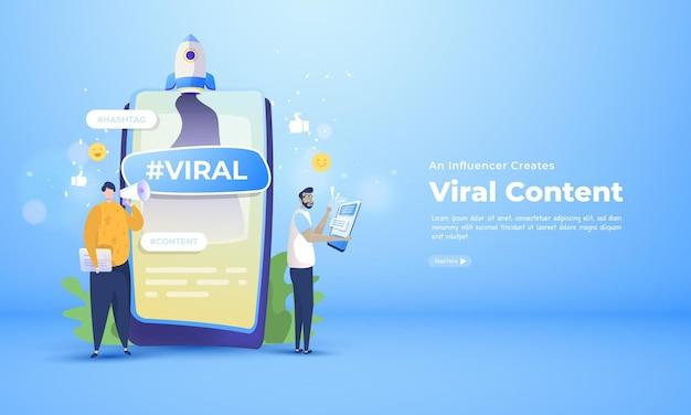 Влиятельный человек создает и продвигает вирусный контент в социальных сетях.