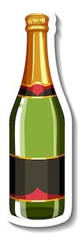 孤立したシャンパンボトルステッカーテンプレート