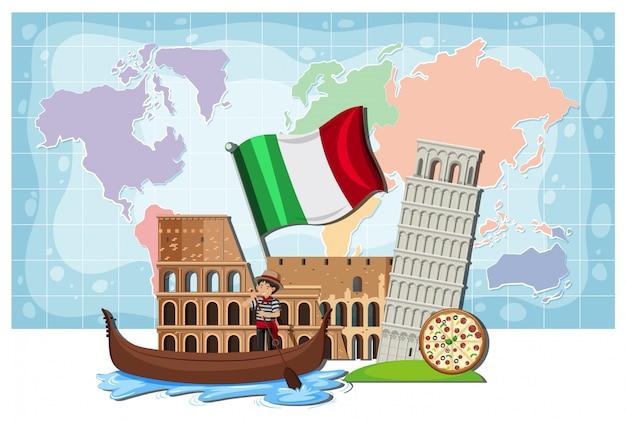 イタリアのランドマークと地図