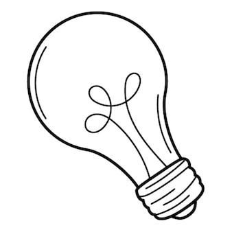 電球、アイデアの象徴、洞察。いたずら書き。手描きの白黒イラスト。