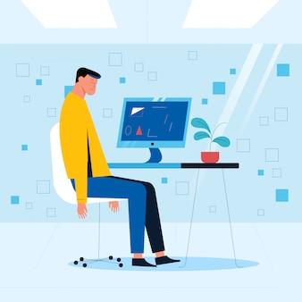 사무실 직원이 그의 손을 아래로 컴퓨터 앞에 의자에 앉아있다. 사무실 상황 개념입니다. 벡터 일러스트 레이 션