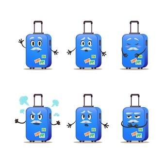 Набор эмоций чемодан старый мультфильм вектор. багаж для путешествий с почтовыми штемпелями. иллюстрация