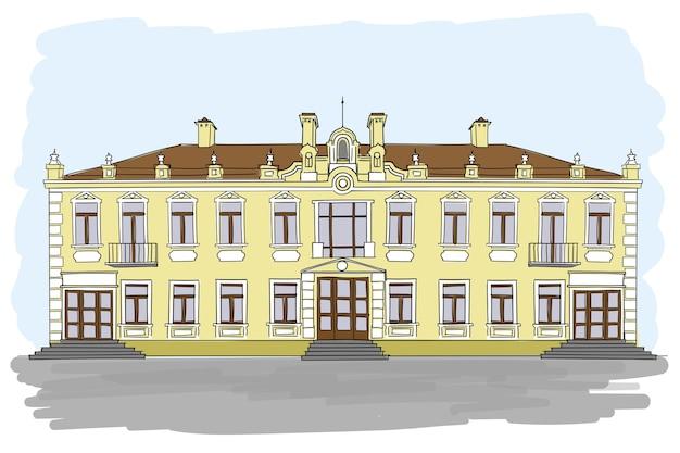 Старинный европейский дворец с большими окнами и дверями с коричневой крышей.