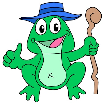 Старая лягушка, несущая лицо палки, счастливо улыбается, каракули рисовать каваи. векторная иллюстрация искусства