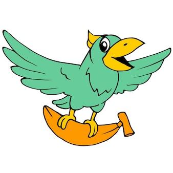 늙은 앵무새가 바나나를 가지고 날고 있었습니다. 만화 그림 스티커 마스코트 이모티콘