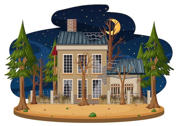 夜の古い不気味な家
