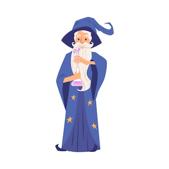 帽子のあごひげと星のマントルを持った魔法使いの老人がフラスコに魔法のポーションを用意しました