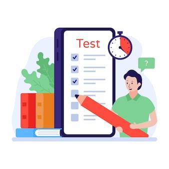 Онлайн-тестовая иллюстрация в плоской векторной концепции мобильного образования