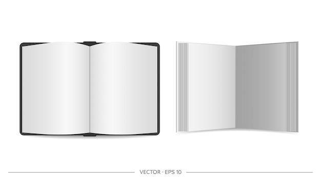 空白の葉で開いた本。上からの眺め。リアル。