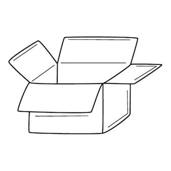Открытая пустая картонная коробка. доставка, подарок, распаковка. рисованной черно-белые векторные иллюстрации.