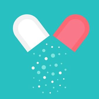 열린 알약입니다. 캡슐의 내부 내용입니다. 의료 준비, 과립, 느슨한. 의료 개념입니다. 평면 벡터 일러스트