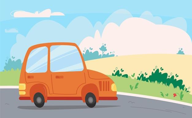 緑の野原と雲のある空を背景に、オレンジ色の車が道路を走っています。輸送と自然のバナー。漫画の子供のスタイルのベクトルイラスト。孤立した楽しいクリップアート