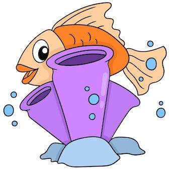 해저에 있는 주황색 물고기는 벡터 일러스트레이션 아트인 산호초 뒤에 숨어 있습니다. 낙서 아이콘 이미지 귀엽다.