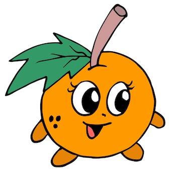 귀여운 얼굴의 오렌지. 만화 그림 스티커 마스코트 이모티콘