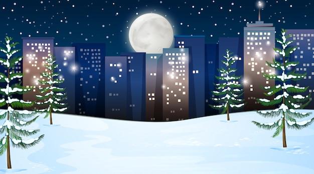 야외 겨울 장면