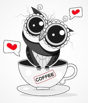 배경에 고립 된 커피 컵 벡터 일러스트 만화에 올빼미. 인사말 카드, 장식용 섬유 디자인