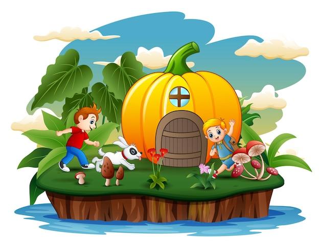 島のイラストで遊ぶ2人の男の子とカボチャの家