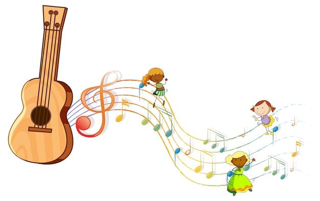 많은 낙서 어린이 멜로디 기호가 있는 우쿨렐레 또는 기타