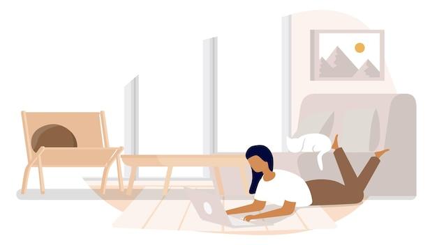 オンラインラップトップコンピューターを介して自宅から大学生の勉強