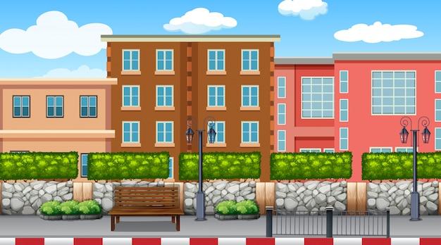 都市のシーンの背景の背景