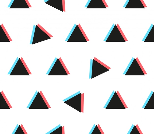 Anaglyph triangle seamless pattern with glitch effect
