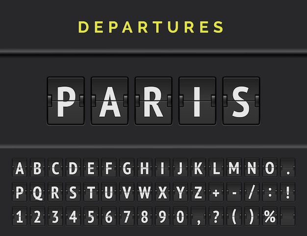 Analog airport flip board displays flight info of departure destination in europe: paris with aircraft sign icon and full font