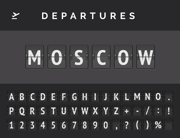 Analog airport flip board displays flight info of departure in europe: moscow with aircraft sign icon and full font
