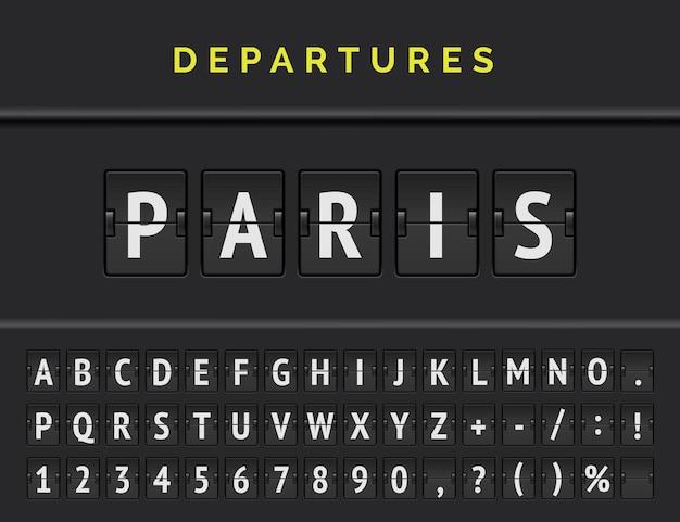 Аналоговый перекидной щит аэропорта отображает информацию о рейсе пункта отправления в европе: париж со значком самолета и полным шрифтом.