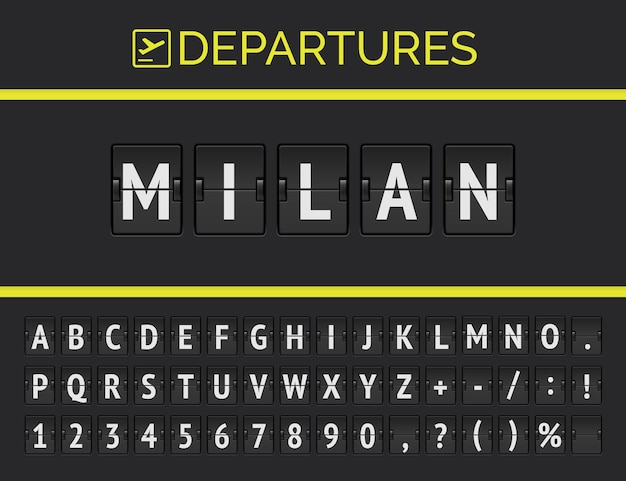 Analog airport flip board displays flight information of destination in europe: milan with aircraft sign icon and full timetable font