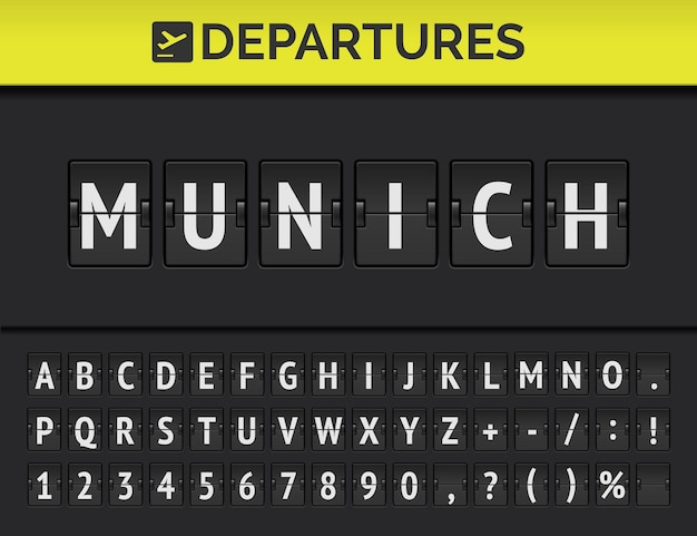 Analog airport flip board with flight info of departure destination in europe: munich with aircraft sign icon and full font