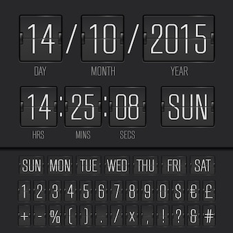 Analog black flip scoreboard digital week timer