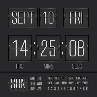 Analog black scoreboard digital timer with date and time of the week