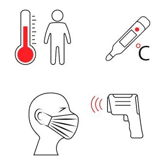 아날로그, 디지털 및 비접촉 적외선 온도계. 온도 스캔 기호입니다. 인체 온도, 가는 선 아이콘을 확인합니다. 발열 측정을 위한 검문소 또는 스테이션. 벡터 일러스트 레이 션