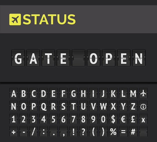 Analog flip board showing airport flight information of departure status: gate open with aircraft sign icon and alphabet