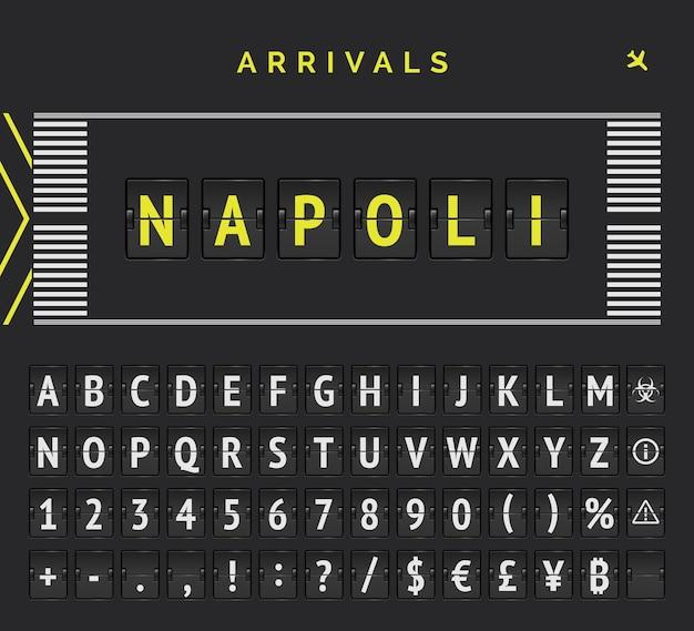 空港の滑走路マークアップを備えたアナログフリップスコアボード。ナポリとしての到着先