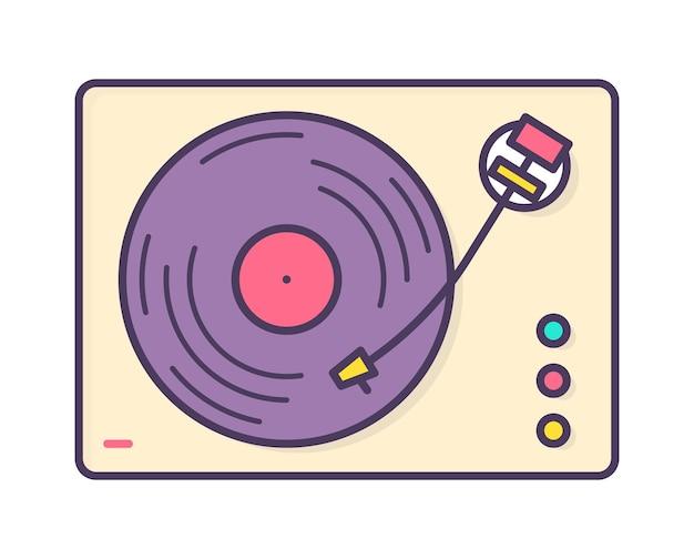 白い背景で隔離のビニールレコードを再生するアナログ音楽プレーヤー、レコーダーまたはターンテーブル。レトロまたは昔ながらのオーディオデバイス。創造的な線画スタイルの明るい色のベクトルイラスト。